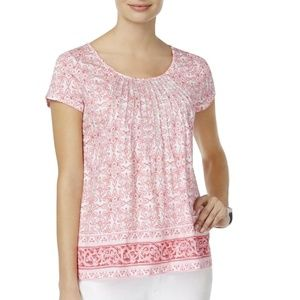 NWT Charter Club Metallic Embroidery Pleated Top